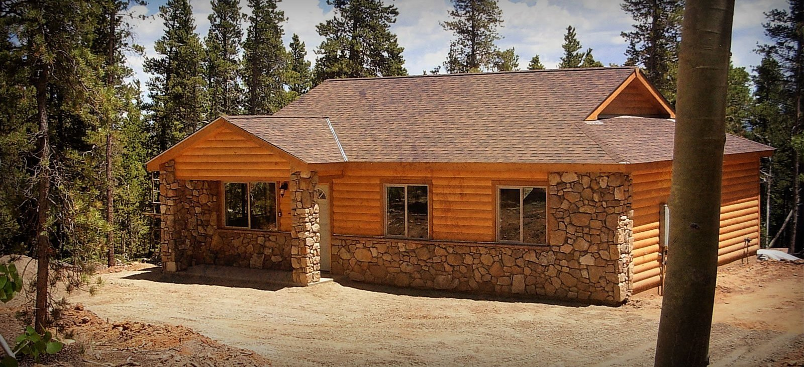 Wooden brick house design